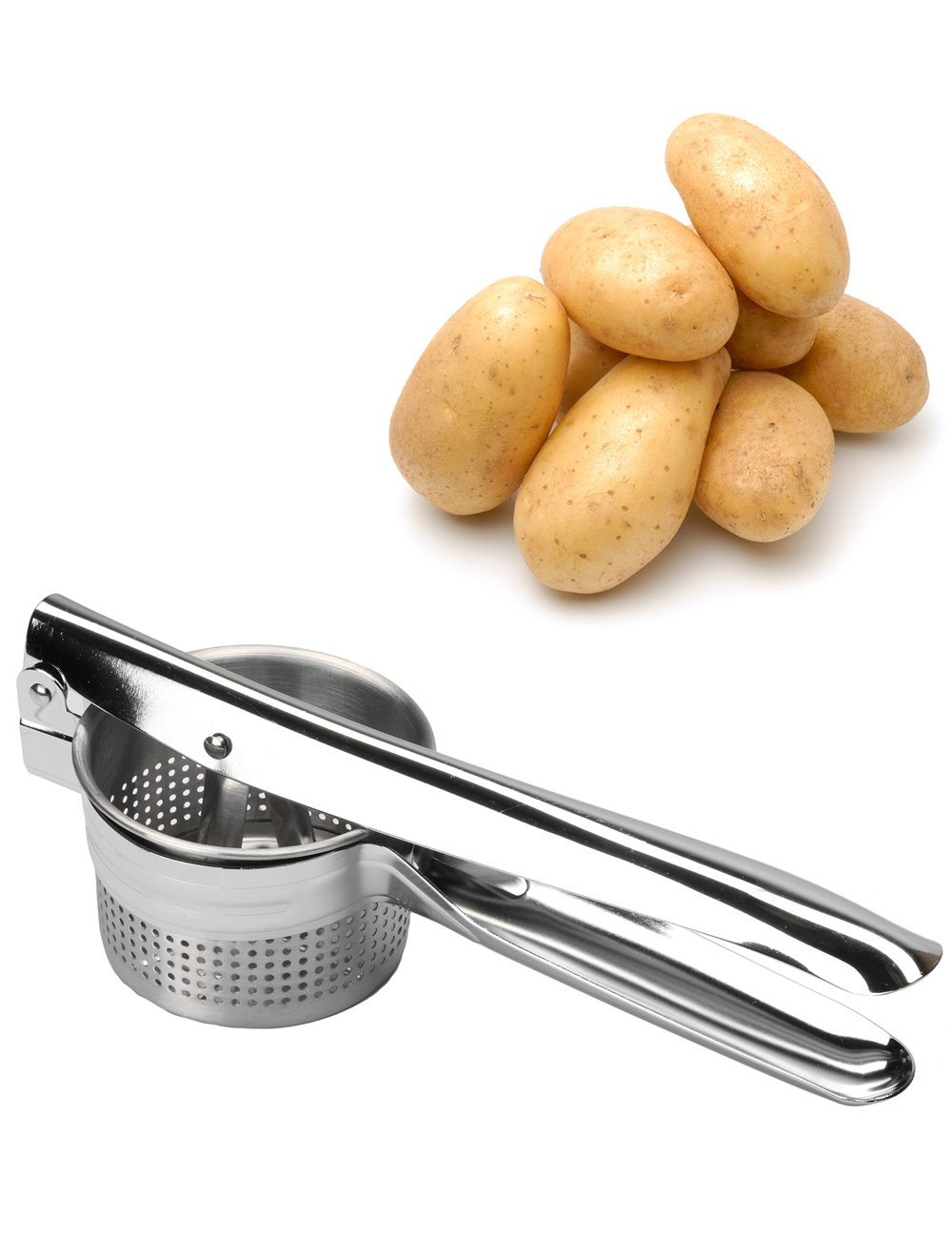 Golden Rule Potato Ricer and Masher Stainless Steel Heavy Duty Food Presser for Potatoes Pumpkin Lemon Fruit Juice