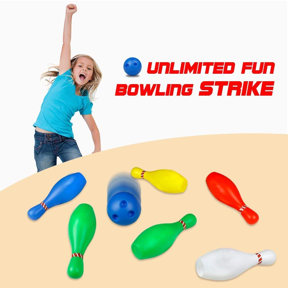 Juego de bolos Skittles Juego de bolos para jugar al aire libre de interior con bolas para niños de 3 a 5 años de edad 6 7 8, de gran tamaño