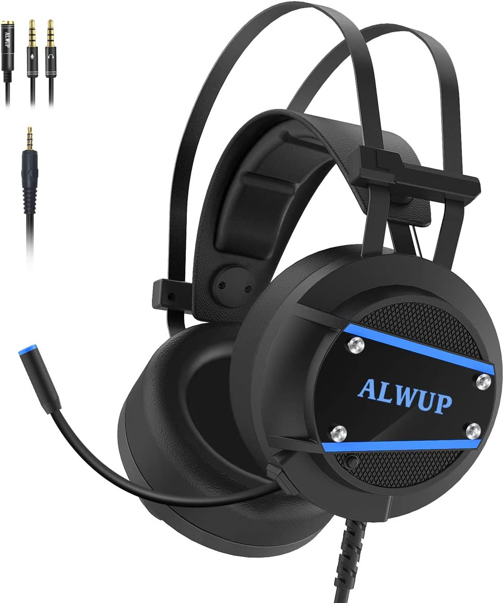 ALWUP A9 Xbox One Headset, PS4 Gaming Headset with Mic, PC Game Headphones with Microphone for Gamer Playstation 4 Xbox 1 S & X Nintendo Switch Computer Laptop of Stereo Surround Sound, Deep Ear Pads