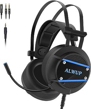 ALWUP Cascos PS4 Gaming, Auriculares para Juegos PS4 Xbox One con Micrófono, Auriculares PC Graves Profundos Sonido Estéreo Anti-Ruido para Playstation 4 Xbox 1 S & X Nintendo Switch Laptop Computer: Amazon.es:
