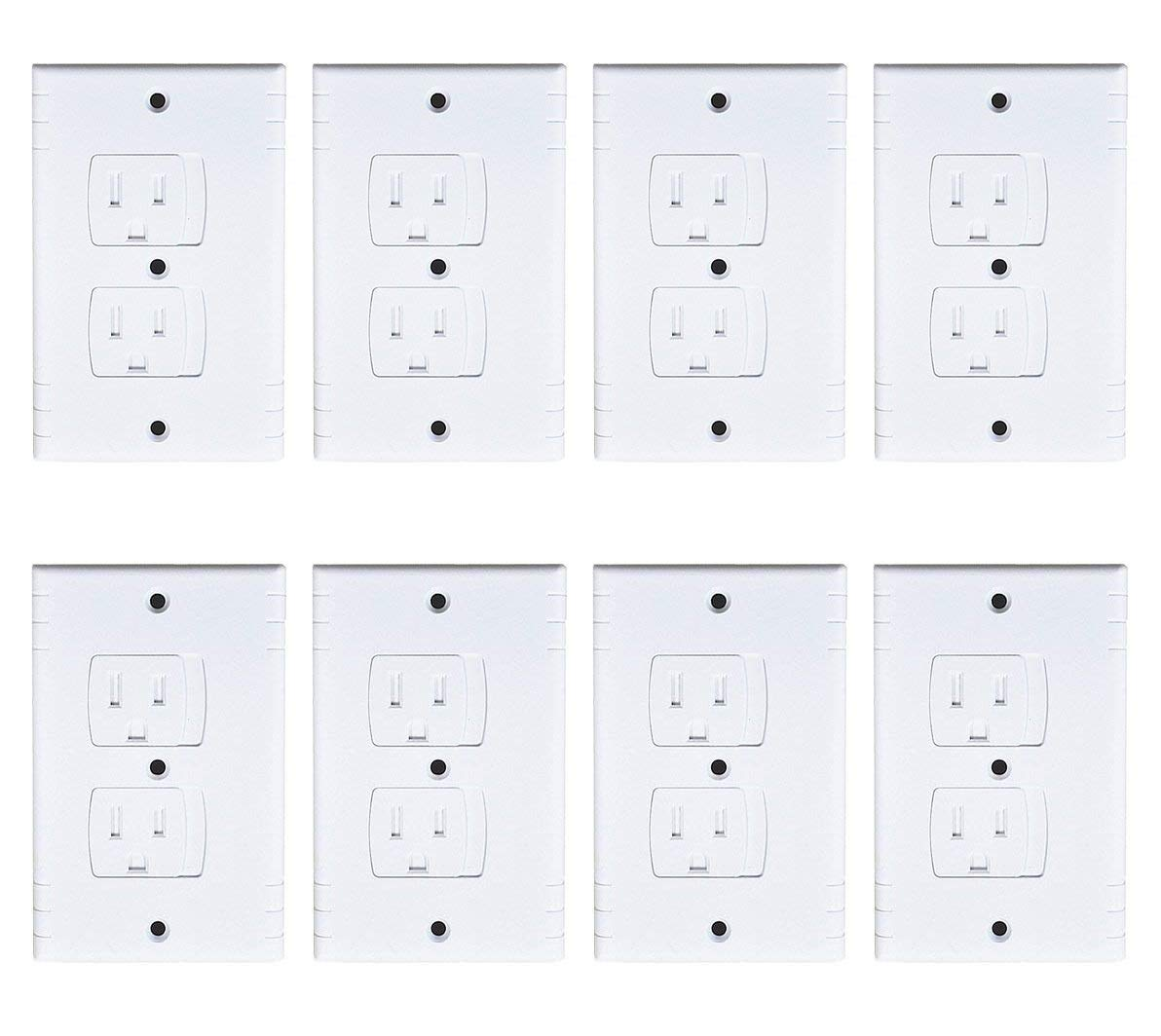 A&S Creavention Self Closing Electrical Wall Outlet Covers, Child Proof Safety Universal Wall Socket Plugs, Automatic Sliding Cap Cover Standard Wall Outlet Plate (8 Pack) by A&S Creavention