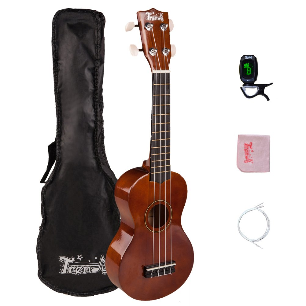 Trendy Traditional and Painted Economy Hawaiian Soprano Ukulele Starter Pack, 21 Inch Standard Model, Brown TDUK21-BR