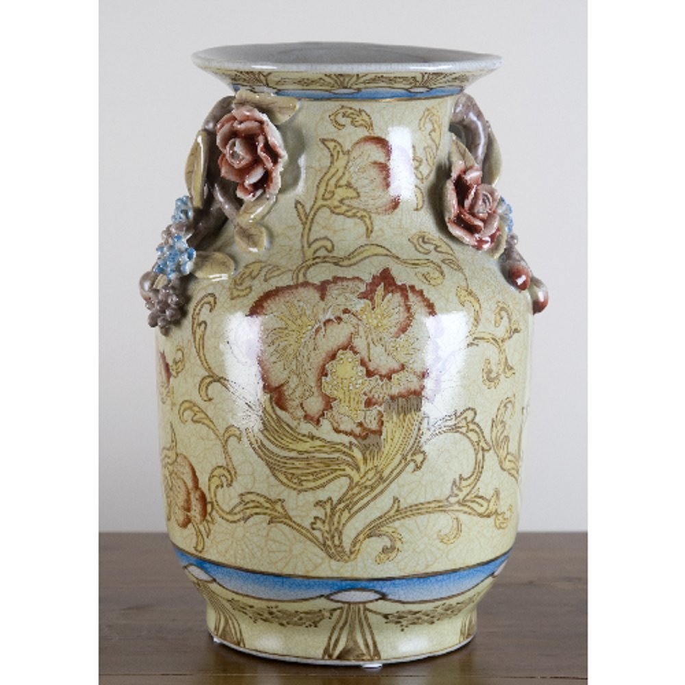 Home decor. Ivory Red and Blue Flower Vase. Dimension: 9 x 9 x 14. Pattern: Montgomery.