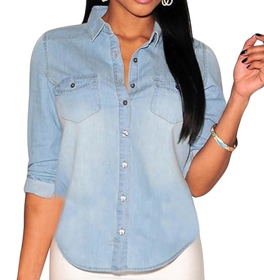 42161be471e M2MO Women Casual Cotton Long Sleeve Denim Shirt at Amazon Women s ...