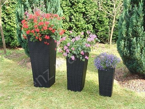 Polyrattan*Pflanzkübel*Blumenkübel*Übertopf*Vase*Kübel*3er Set ...