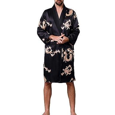 eb4bb484e264c Homme Robe Peignoir en Soie col en V pour Hommes Peignoir Section Vêtements  de Nuit Peignoir
