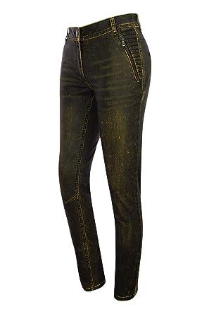 Kenny S - Jeans - Femme Noir Jaune  Amazon.fr  Vêtements et accessoires 1093c8c646e
