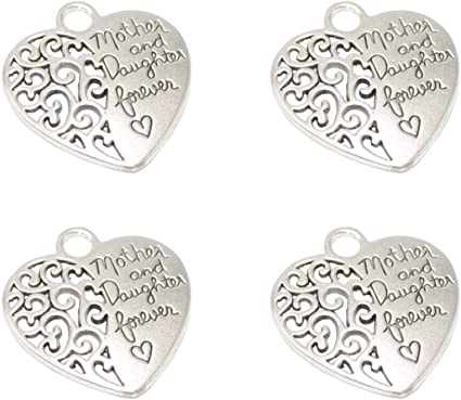 10PCS Forever in my Heart Antiqued Silver Metal Inspiration Heart Charm Pendants
