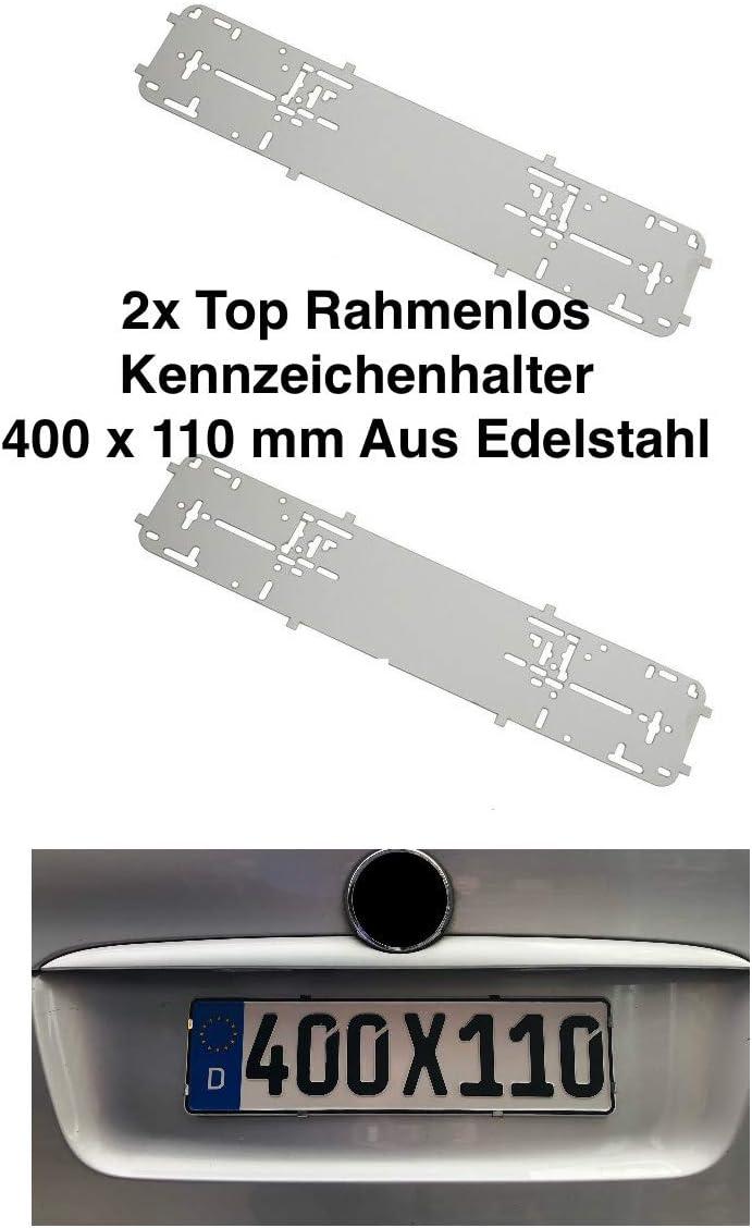 Short Frameless Premium Number Plate Holder Number Plate Holder Frameless Stainless Steel Set of 2 400 mm x 110 mm 40 cm x 11 cm