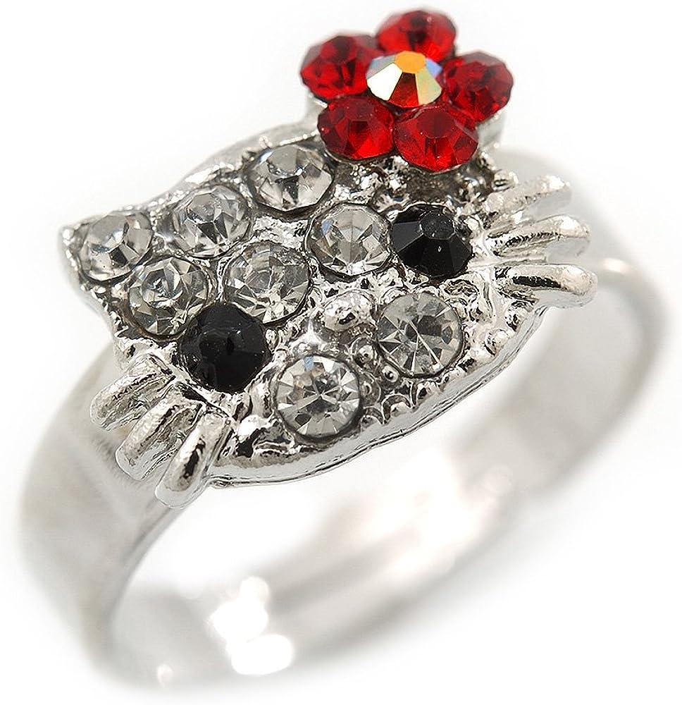 Plata tono cristal Kitty con rojo flor anillo ajustable–tamaño 7/8