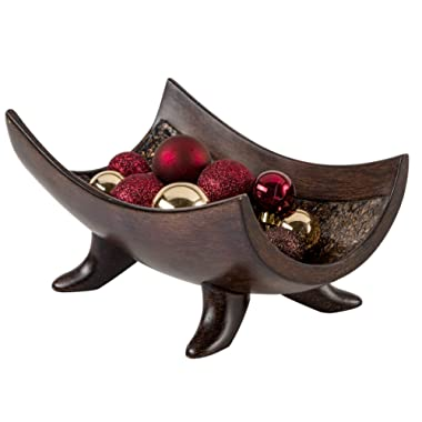Creative Scents Schonwerk Decorative Bowl Centerpiece, Crackled Mosaic Design, Functional Coffee Table Centerpieces for Dining/Living Room, Best Wedding/Birthday (Walnut)