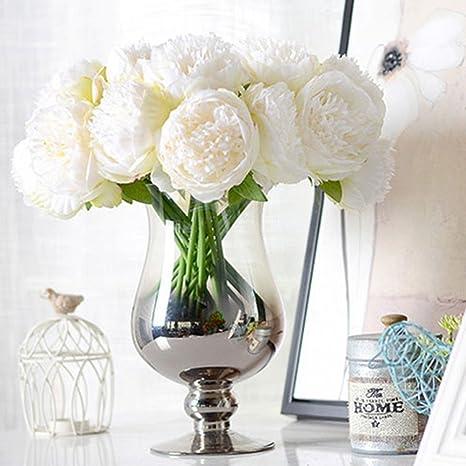 Image ofLianLe - Ramo de novia artificial hecho a mano de flores de peonía, flores decorativas, sin jarrón.