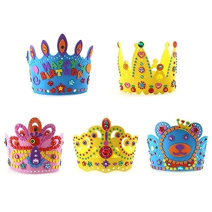 NUOLUX 5pcs cumpleaños corona gorras cumpleaños sombreros fiesta de la torta sombreros de la corona del cumpleaños juega para los cabritos