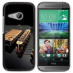 TopCaseStore / la caja del caucho duro de la cubierta de protección de la piel - Music Gold Guitar - HTC ONE MINI 2 / M8 MINI