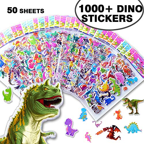 1000+ Bulk Dinosaur Stickers for Kids Boys Girls Toddlers Teens,Teacher Boy Reward Stickers Prizes,Dinosaur Themed Birthday Party Favors Supplies, Dinosaur Favor Bags Hats Goody Gift Bags Boxes -