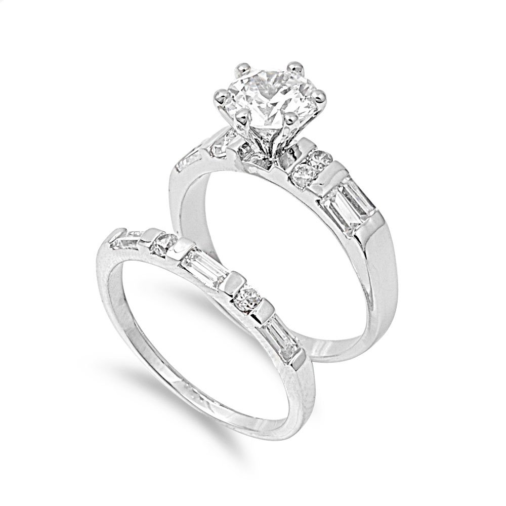 CloseoutWarehouse Round Center with Baguette Stones Cubic Zirconia Wedding Set Ring Sterling Silver Size 5