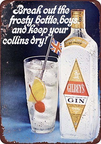 Custom Kraze 1963 Gilbey's Gin Collins Cocktail Reproduction Metal Sign 8 x ()