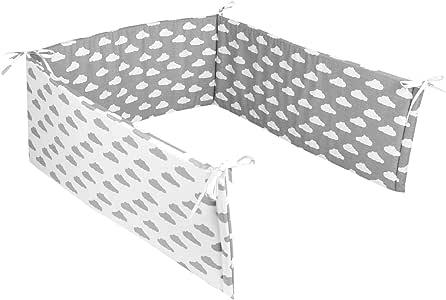 TupTam Protector para Cama de Beb/é Acolchado Cuna 140x70 Estrellas Blanco 2 210x30cm