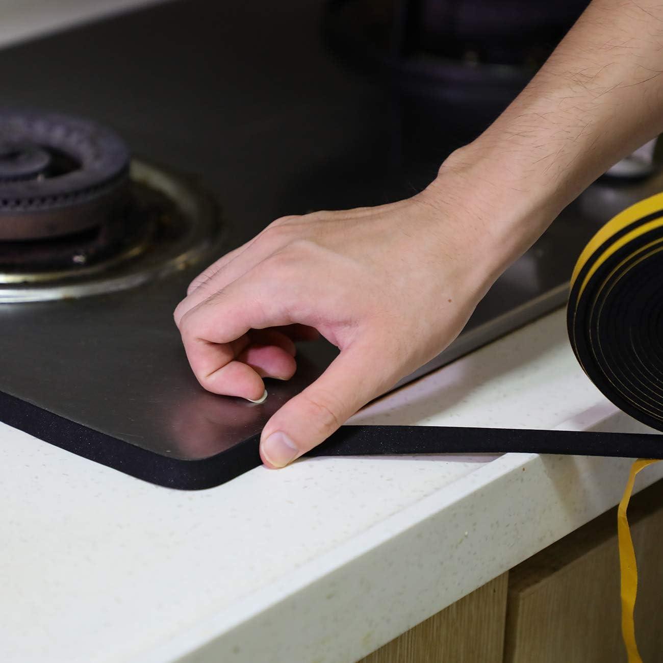 L x 1.5 mm T Cinta de aislamiento a prueba de sonido anticolisi/ón Aislamiento de puerta de celda cerrada Sellado de goma Cinta de espuma autoadhesiva x 10 m W 25 mm