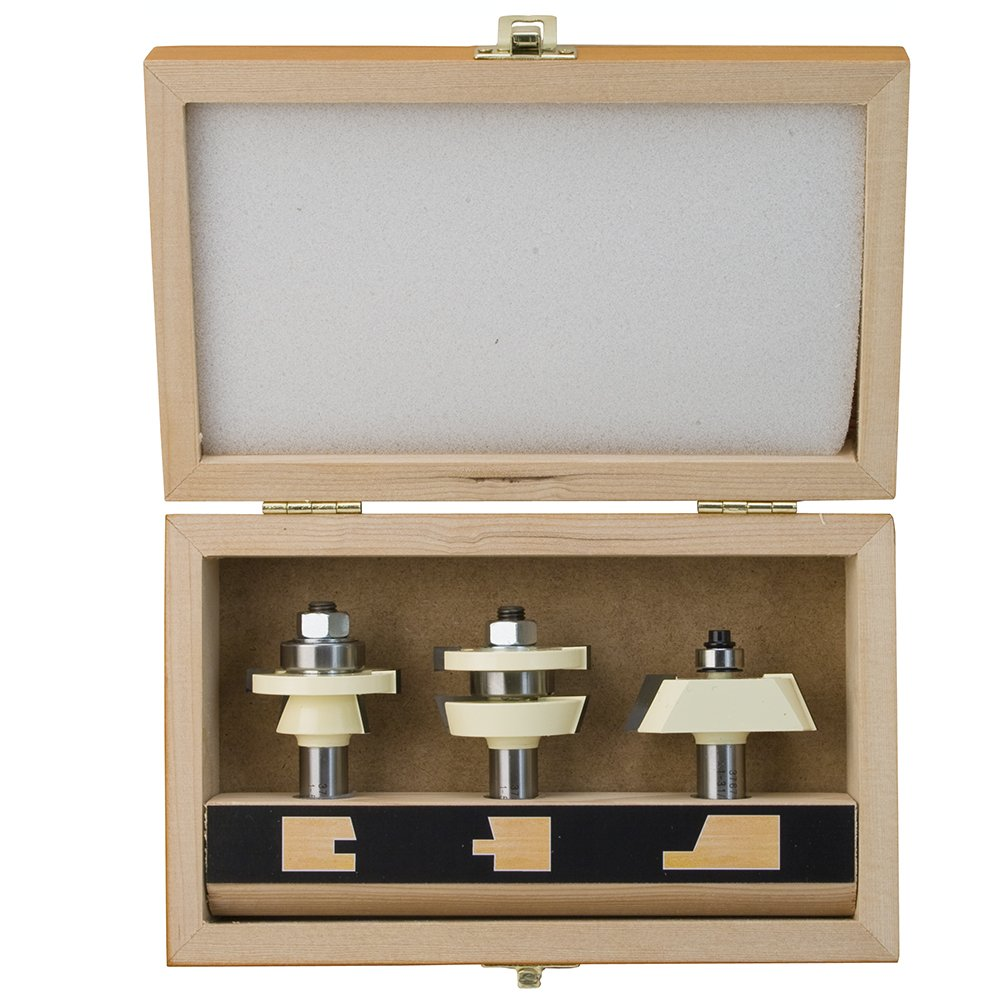 Shaker Door Set with 22 1/2 Degree Angle Router Bit Set - 3Pc Set