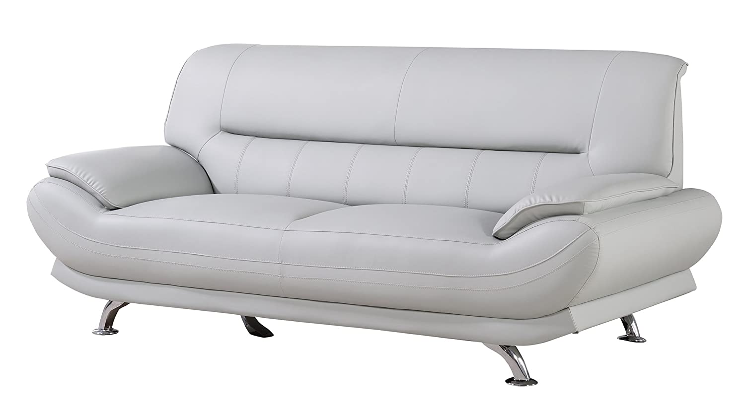 American Eagle Furniture AE709-LG-SF Mason Upholstered Leather Sofa with Added Base Support and Pillow Top Armrest, Light Gray