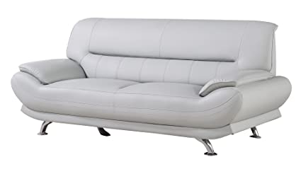 American Eagle Furniture Mason Upholstered Leather Sofa With Added Base  Support And Pillow Top Armrests,