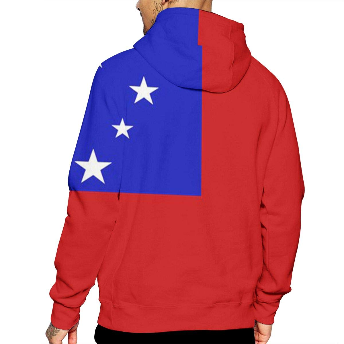 LRHUI Samoan Flag Mens Full Print Graphic Hoodie Pullover with Pocket
