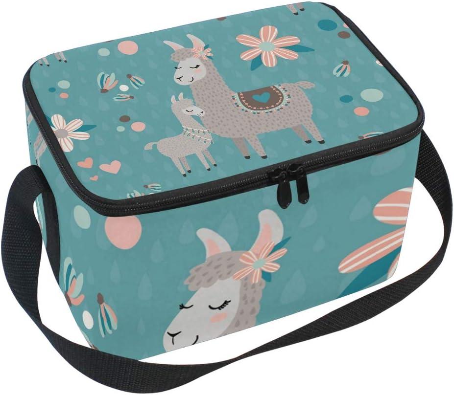 Mnsruu isotherme en n/éopr/ène Sac /à d/éjeuner Lunchbox Lama alpaga Motif Cooler Lunch Tote pour femme enfants avec sangle d/épaule