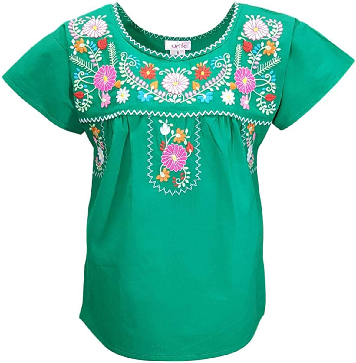 Oaxaca Style embroidered Blouse Pink Mexican Blouse With Turquoise Silk Thread Floral Embroidery Mexican Traditional Blouse