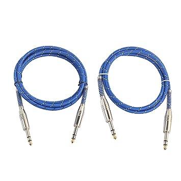 Baoblaze 2 Piezas de Cables Guitarra 6.35 Mm para Piezas Bajos Guitarra Eléctrica Macho a Macho Audio Cable: Amazon.es: Electrónica