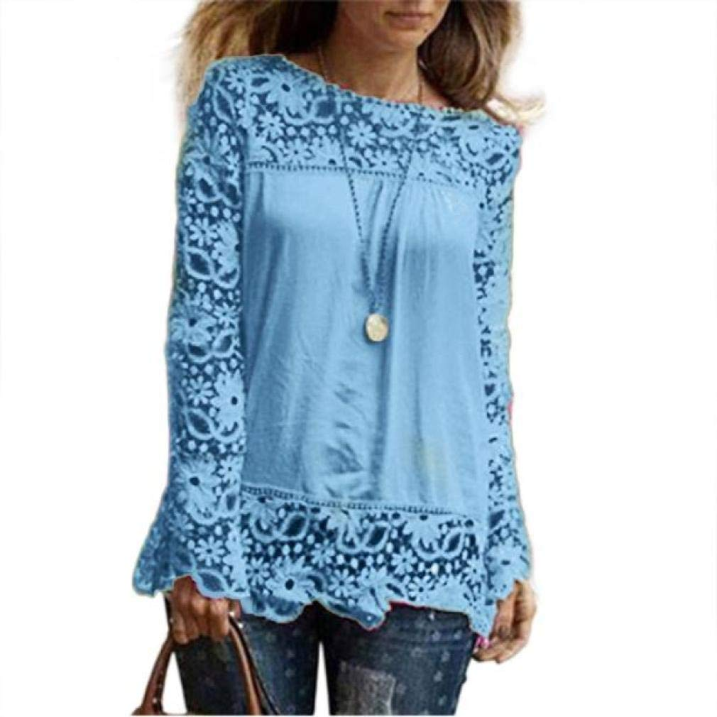Women Plus Size Hollow Out Lace Splice Long Sleeve Shirt Casual Blouse Loose Top(sky blue,Small)