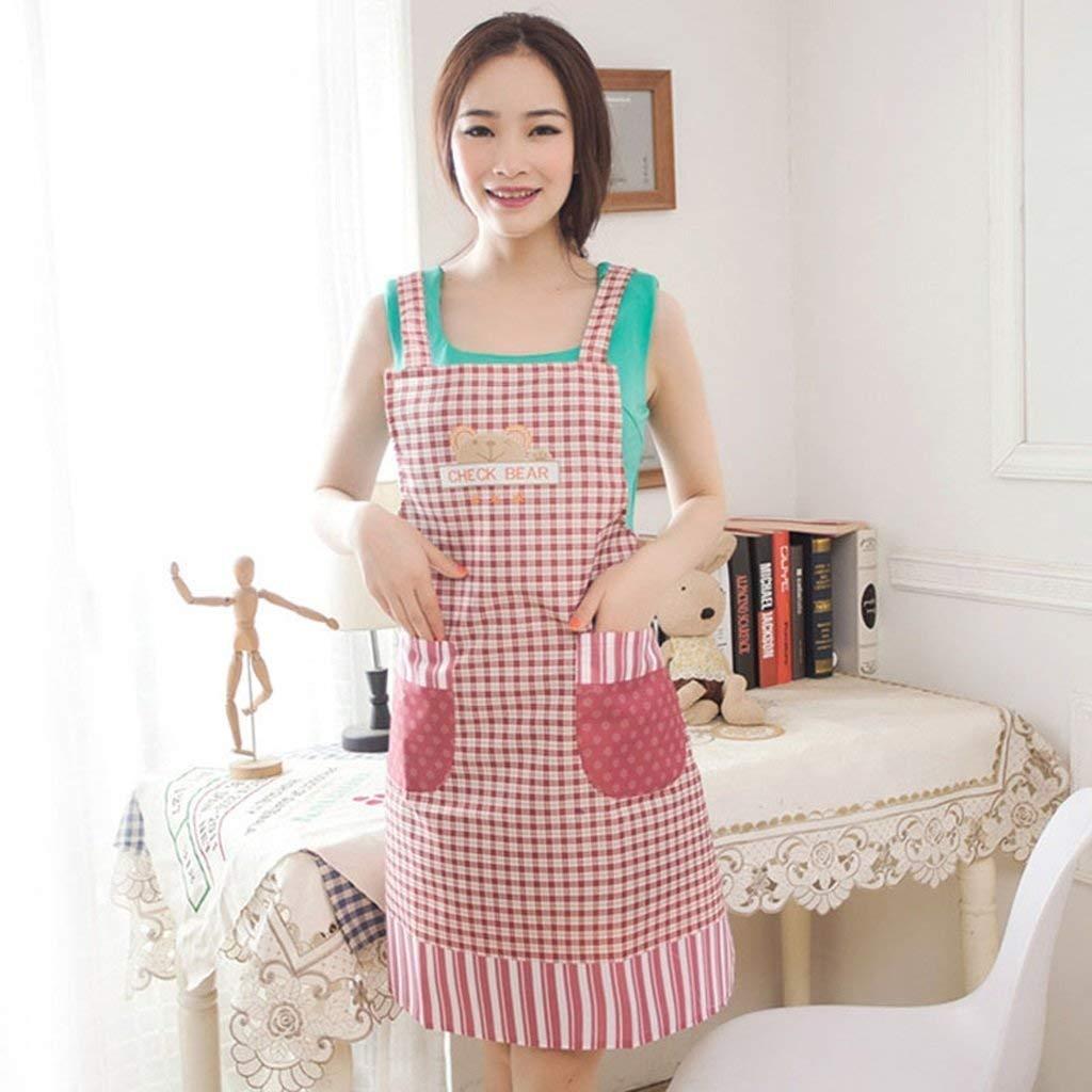 クッキングキッチンエプロンホームワークタバード エプロンプロフェッショナル品質韓国風ファッションラブリーキッチン防水防油シェフ作業服クックビストロ肉屋 (色 : Pink)  Pink B07QFM2DN5