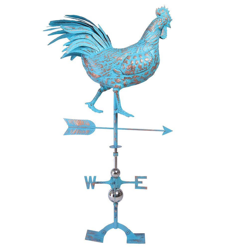 IORMAN Original Walking Rooster Weathervane 3D Handmade Aged Craft Garden Roof Decor Ornaments