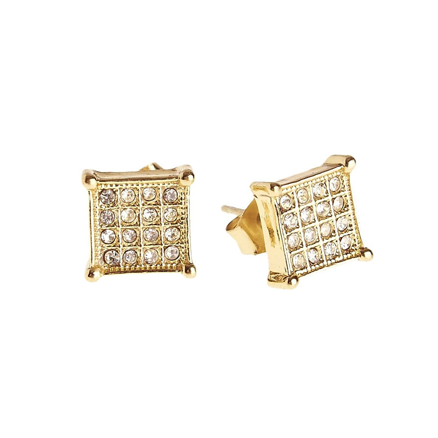 Iced Out Bling Earrings Box - SQUARE 8mm gold