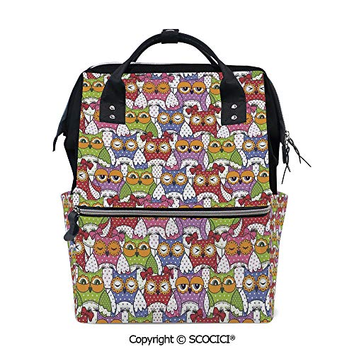 SCOCICI Stylish Durable School Backpack,Ornate Owl Crowd with Different Sights and Polka Dots Like Matryoshka Dolls Fun Retro Theme,for Men and Women Bookbag