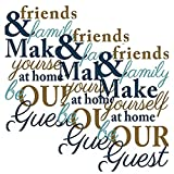 Amscan Friends & Family Disposable 2 Ply Paper Guest Towels Tableware (48 Piece), 8'' x 4.5'', Gold/Navy/Gray