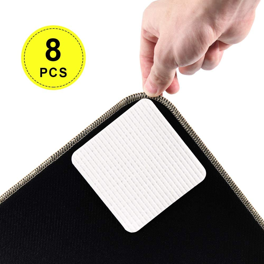 Rug Grippers, Non Slip Carpet Gripper, Vacuum Tech Corner Gripper Tape Anti Curling Rug Pad Tape Reusable Flooring Rug Tape for Hardwood Floors, Carpets, Area Rugs and Mats (8 Pack)