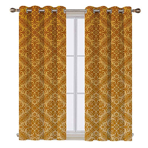 SATVSHOP Room Darkening Wide Curtains - 96W x 108L Inch- Customized Curtains.Floral Antique Checked Pattern Squar with Ancient Floral Ornamental Details etro Damask Apricot Gold.