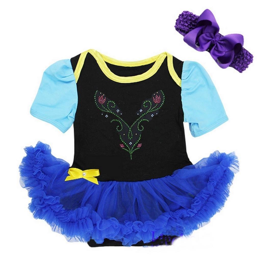 Baby Anna Princess Black Royal Blue Bodysuit Tutu Costume Large Black