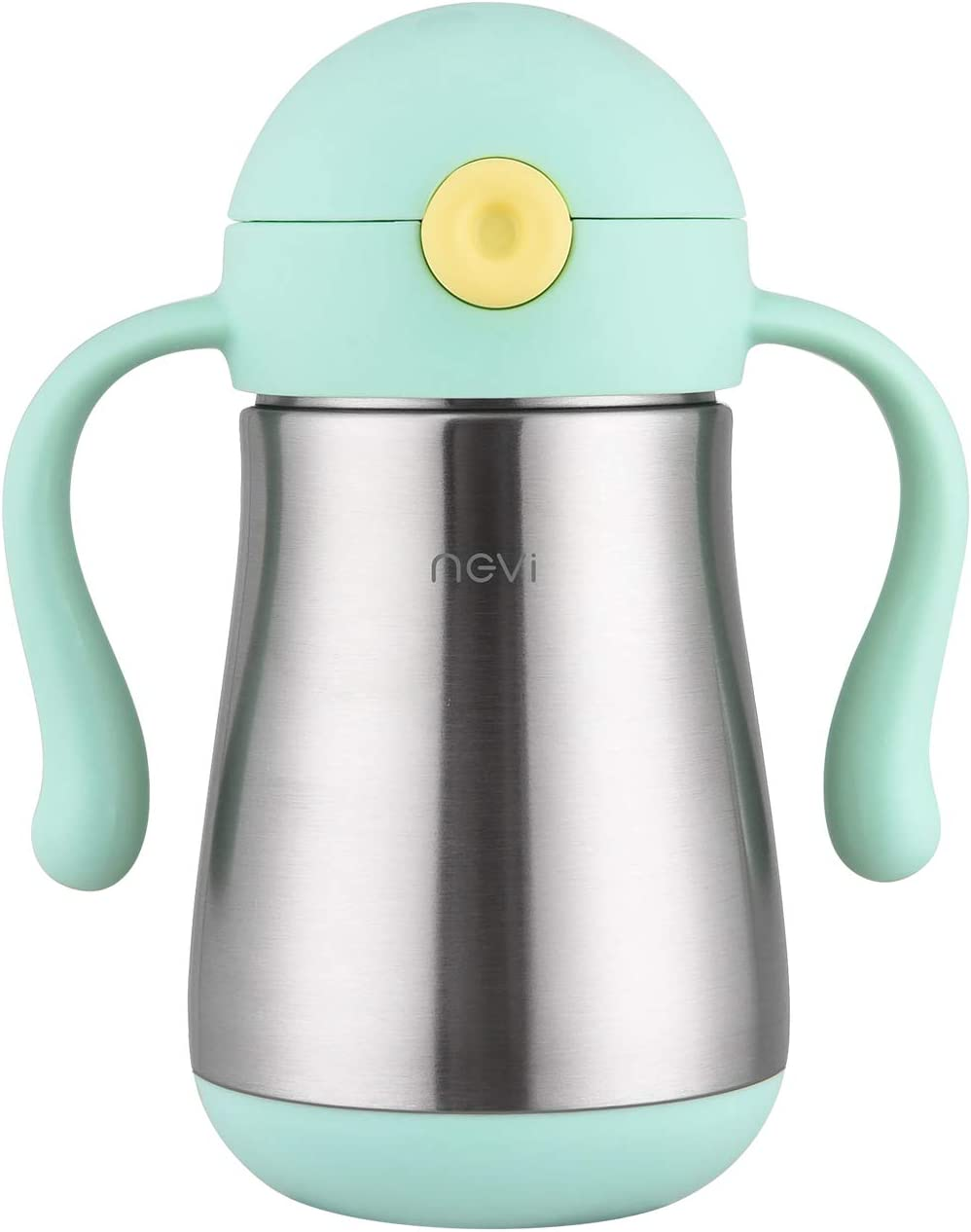 NCVI Cute Octopus Stainless Steel Baby Sippy Thermos Cup with Straw for Toddlers 9oz Tritan Water Bottles with Double Handle