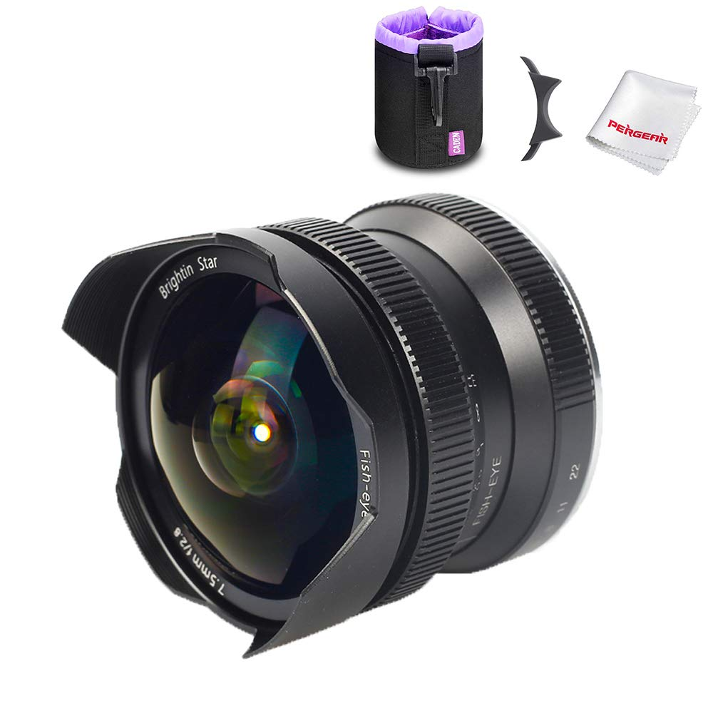 Brightin Star 7.5mm F2.8 APS-C Ultra-Wide Fisheye Manual Cameras Lens for Sony E-Mount Lens FS7, FS7M2, FS5, FS5M2K A7, A7II, A7R, A7SII, A7III, A7RIII, A3000, A6500, W/Lens Pouch Bag & Focus Wrench by brightin star