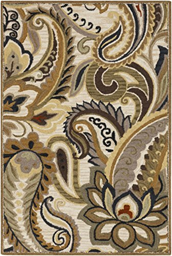Diva At Home 8' x 11' Lotus Foliage Brown, Olive and Beige Hand Tufted Wool Area Throw Rug