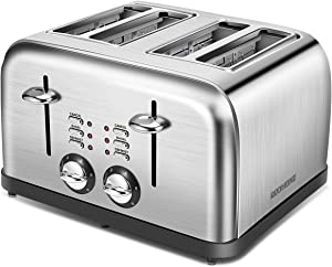REDMOND 4 Slice Toaster, Retro Stainless Steel Extra Wide Slots Toaster with Bagel, Defrost, Cancel Function, 6 Bread Shade Settings, 1500W, ST027