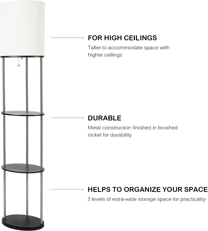 CO-Z Bigger Shelf Floor Lamp Metal Nightstand Floor Lamp with Organizer Shelves for Living Room Bedroom Modern Black Etagere Standing Lamp with Shelving Units Tall Combo Corner Lamp for Storage