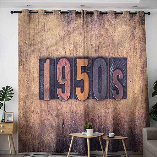 BE.SUN Home Curtains,1950s,Vintage Lettering Wooden Wall,Insulated with Grommet Curtains for Bedroom,W84x96L
