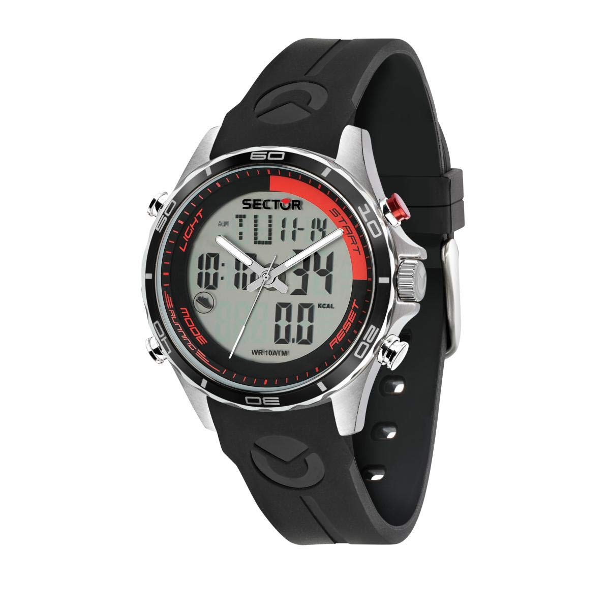 Sector No Limits Mens Master Stainless Steel Analog-Quartz Sport Watch with Silicone Strap, Black, 18 (Model: R3271615002)