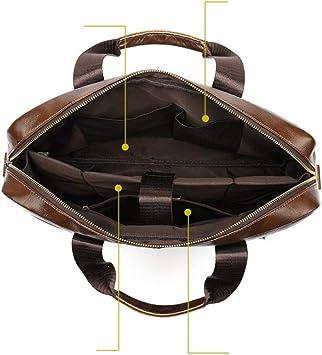 ZhiGe Briefcase,Leather Mens Casual Business Briefcase Cross-Section Single Shoulder Messenger Handbag