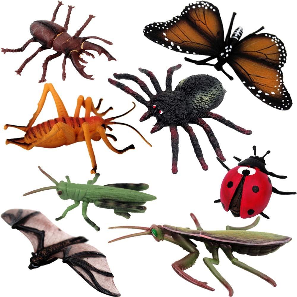 LW 8 pcs Bug Insect Toys Figures, Kids Christmas Birthday Gift Educational Plastic Model