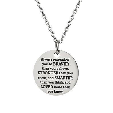 Amazon analysisylove inspirational jewelry necklace gift for analysisylove inspirational jewelry necklace gift for women girls by you are braver stronger smarter than you aloadofball Choice Image