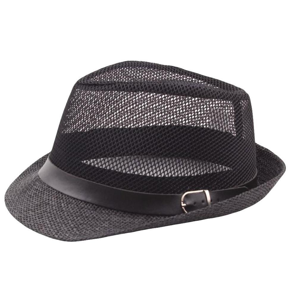 7c4d273750737 2018 Summer Men Women Adjustable Solid Mesh Jazz Hats Trilby Gangster Cap  Beach Sun Straw Hat Band Sunhat (Beige) at Amazon Women s Clothing store